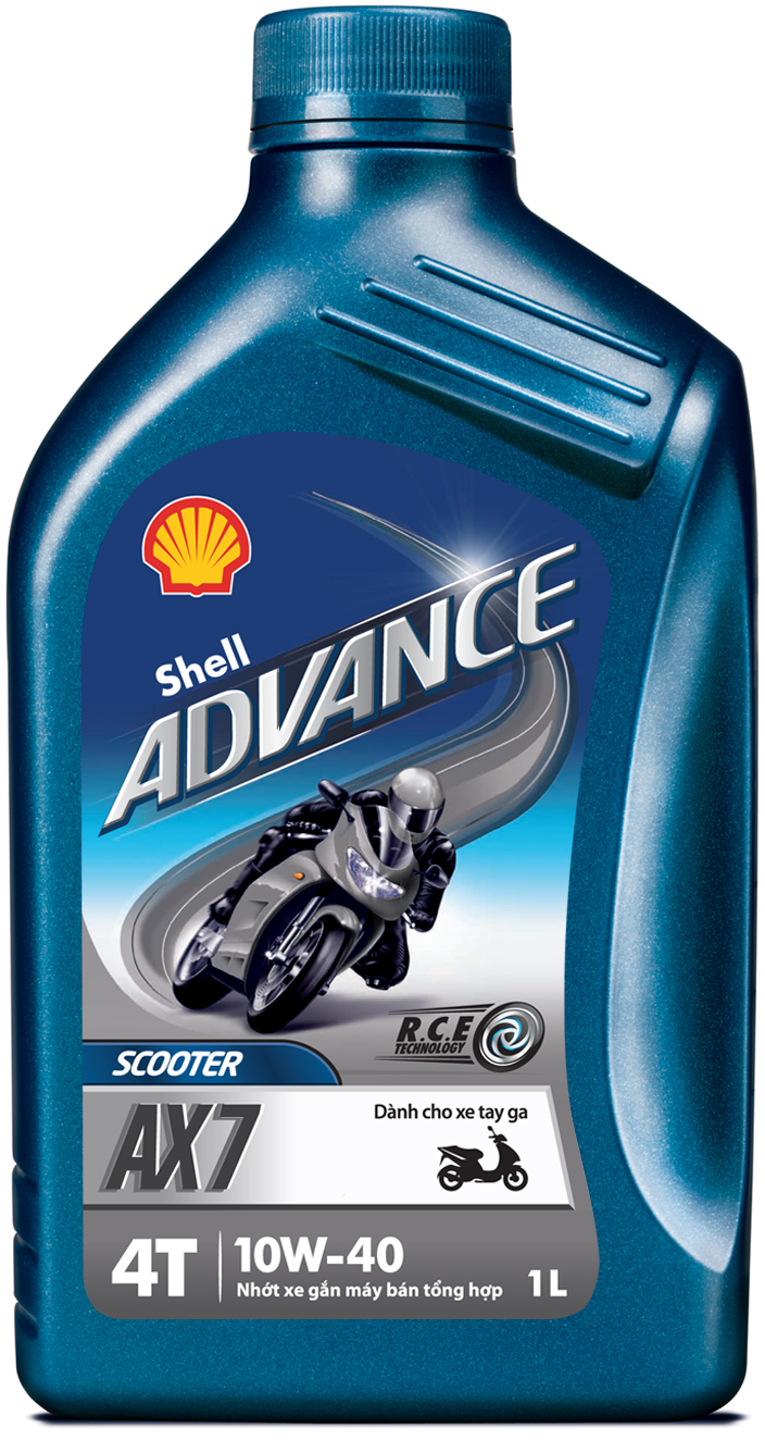 Dung thu Shell Advance AX5 15W40 Shell Advance AX7 Scooter 10W40