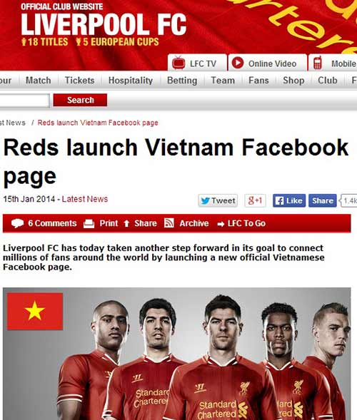 Liverpool up mo ve kha nang den Viet Nam - 2