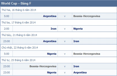 Lich thi dau WORLD CUP 2014 Brazil va ket qua World Cup 2014 - 10