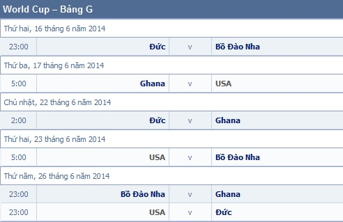 Lich thi dau WORLD CUP 2014 Brazil va ket qua World Cup 2014 - 11