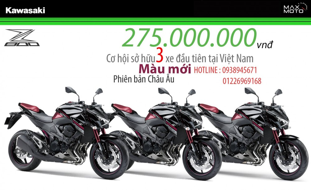 Kawasaki Z800 ABS 2016 mau Candy Crimson Red moi cuc dep