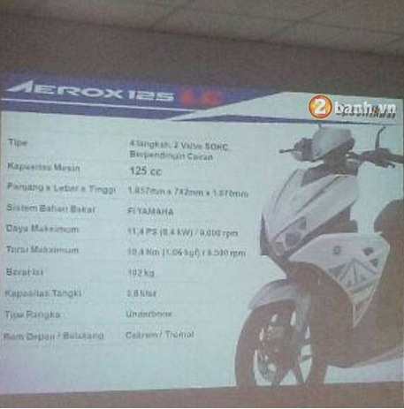 Lo thong so ky thuat Yamaha Aerox 125 2016 - 2