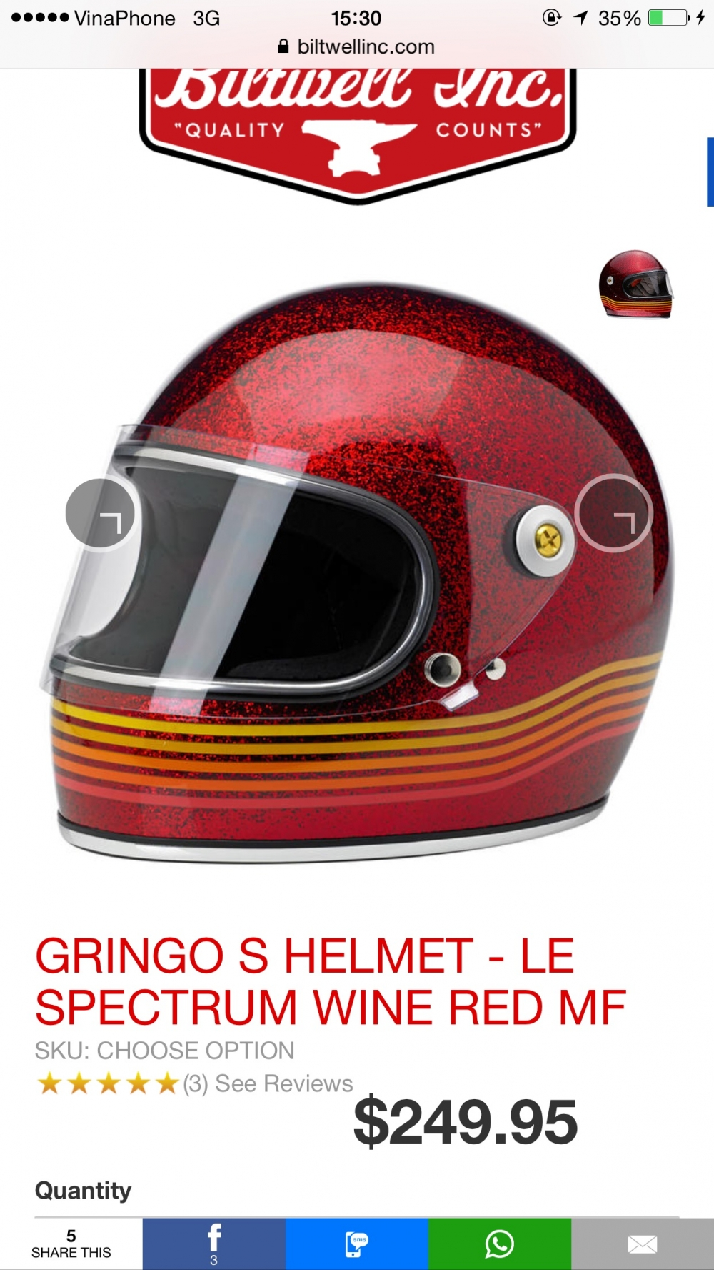 BILTWELL GRINGO S SPECTRUM WINE RED