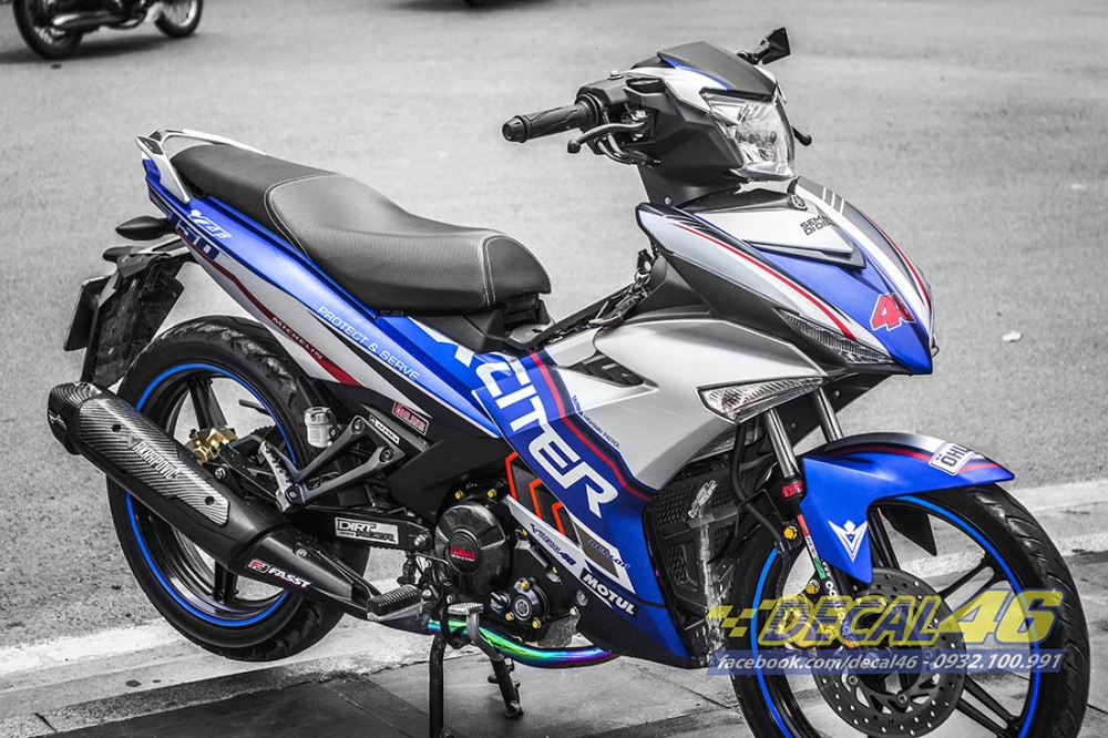 Tem trum Exciter 150 Police xanh bac tai Decal 46