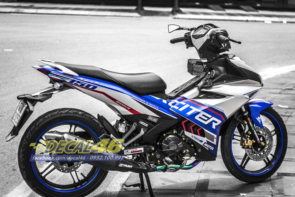 Tem trum Exciter 150 Police xanh bac tai Decal 46 - 3