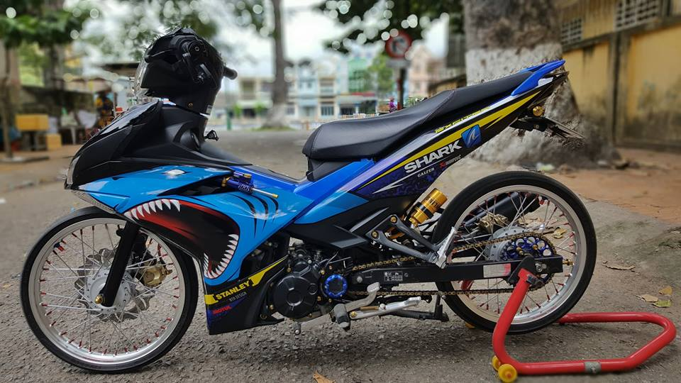 Exciter 150 do duoc giam can voi dan chan luoi lam - 7